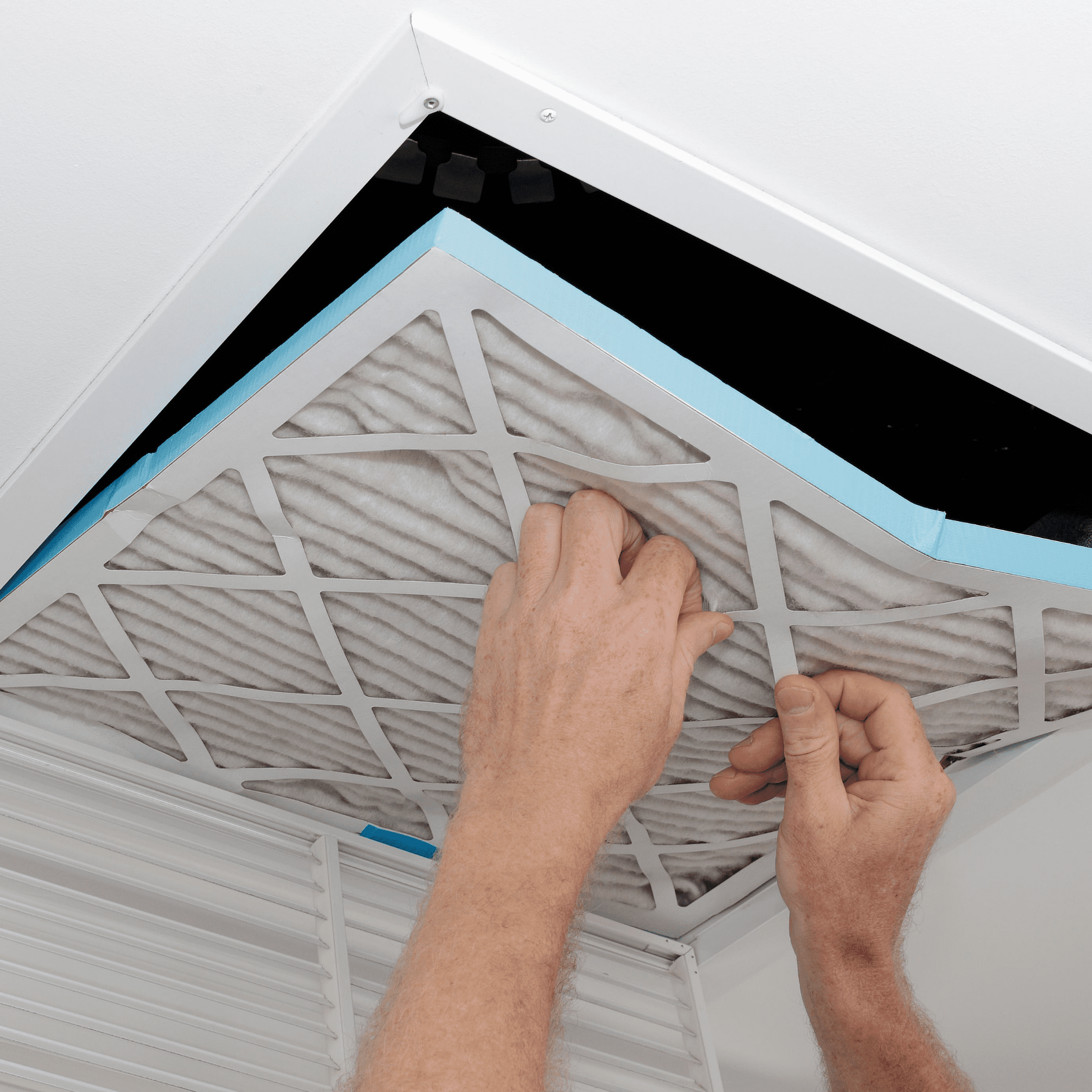 Regularly change HVAC Air filter to improve indoor air quality in home office